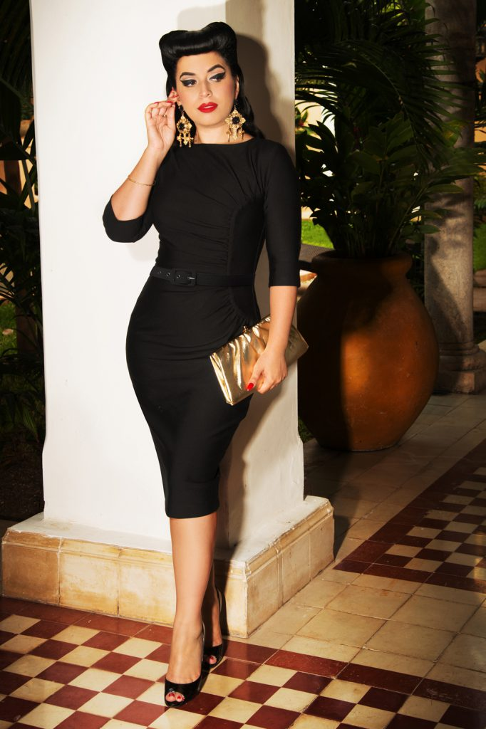 The Ava Hourglass Pencil Dress In Black Vintage Diva